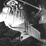 Martian tripodal vehicles destroy an English town, as depicted by the Brazilian artist Henrique Alvim Corréa for a 1906 Belgian edition of the novel.